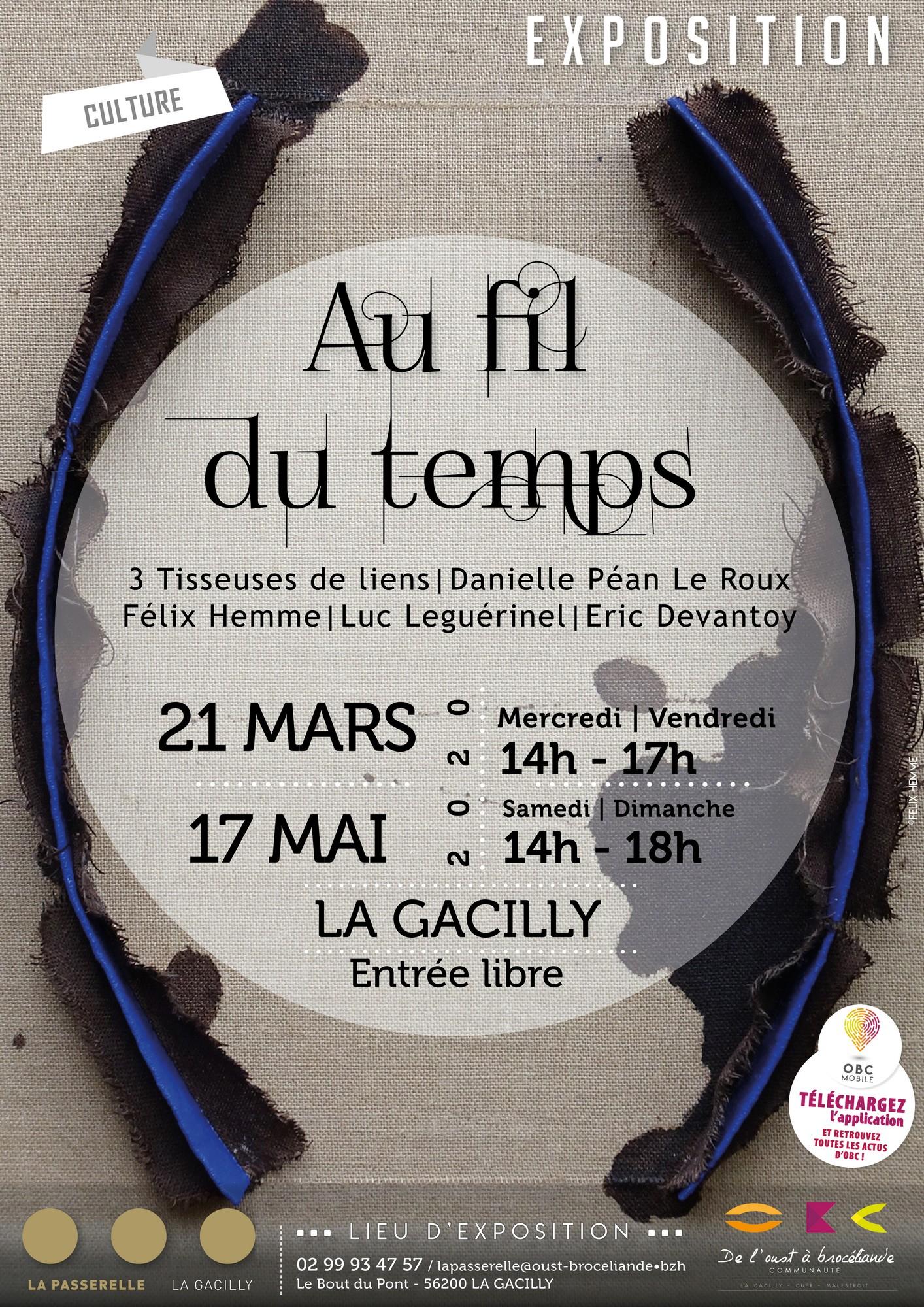 Affiche de l'exposition au fil du temps qui débute le 21 mars à la passerelle à La Gacilly